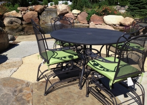 Outdoor Living Patio set and Large Boulder Waterfall