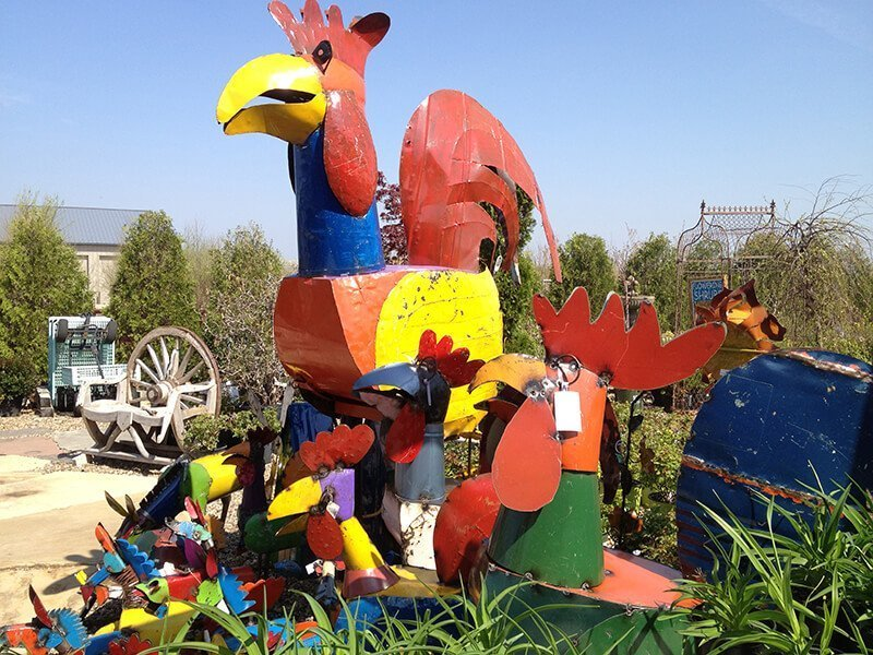 Outdoor Garden Art Large Colorful Rooster