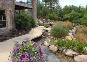 Beautiful Outdoor Stone Pathway with waterfall