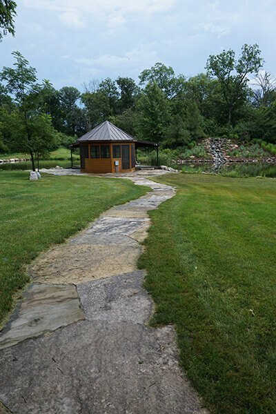 Large Stone Slab Pathway to Gazebo