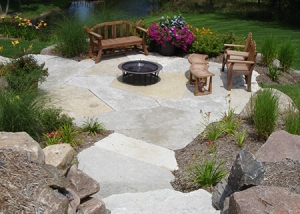 Outdoor Living Stone Slab Stairs and patio