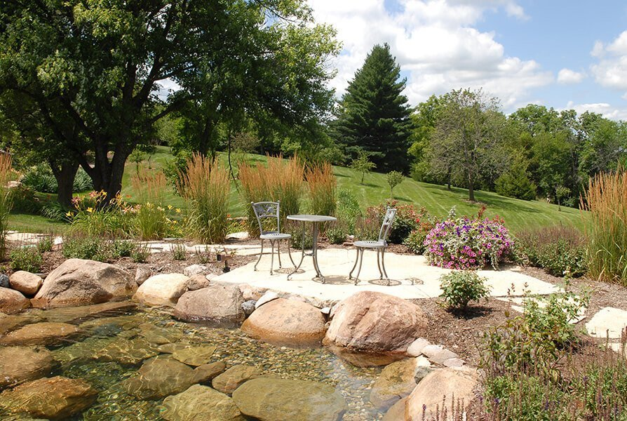 Simple Garden and Patio with Pond