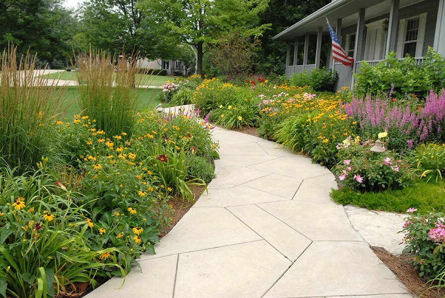 Paver Walkway with side gardens