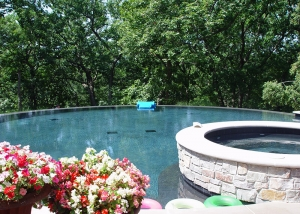 Beautiful Pool and Hot tub outdoor landscaping design