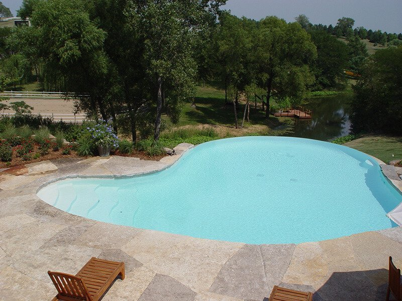Pool and Loungers Des Moines Backyard Landscaping