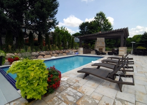 Outdoor Pool with Loungers and Outdoor Firepit by Ted Lare Des Moines