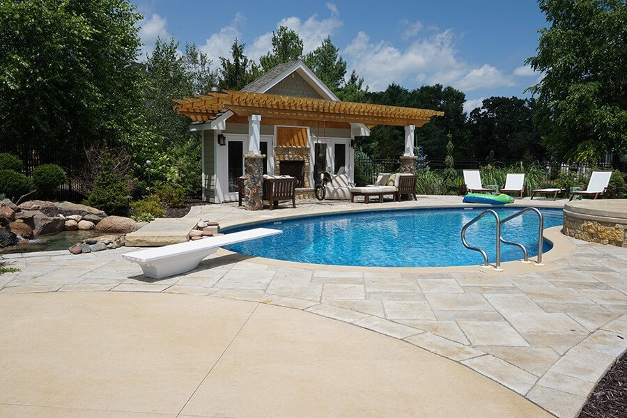 Outdoor Pool and Diving Board Backyard Landscaping Ideas