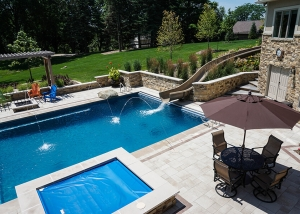 Backyard Pool, Hot tub and Waterslide