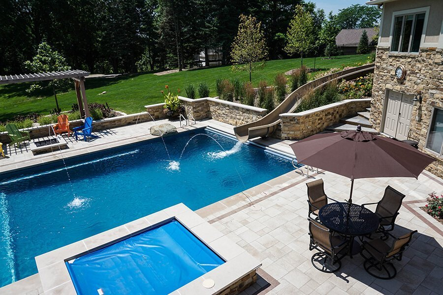 Backyard Pool, Hot tub and Waterslide