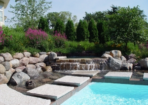 Outdoor Waterfall Feature and Swimming Pool