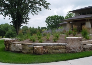 Large Boulders Retaining Wall and Garden