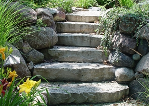 Stone Slab Stairway and Boulder Retaining wall