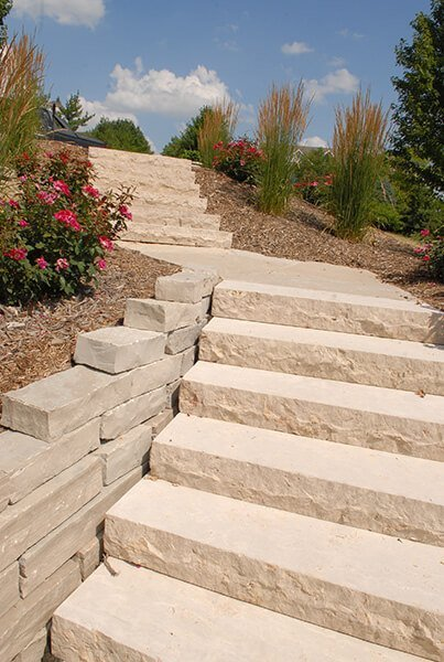 Stone Slab Stairway and Retaining Wall