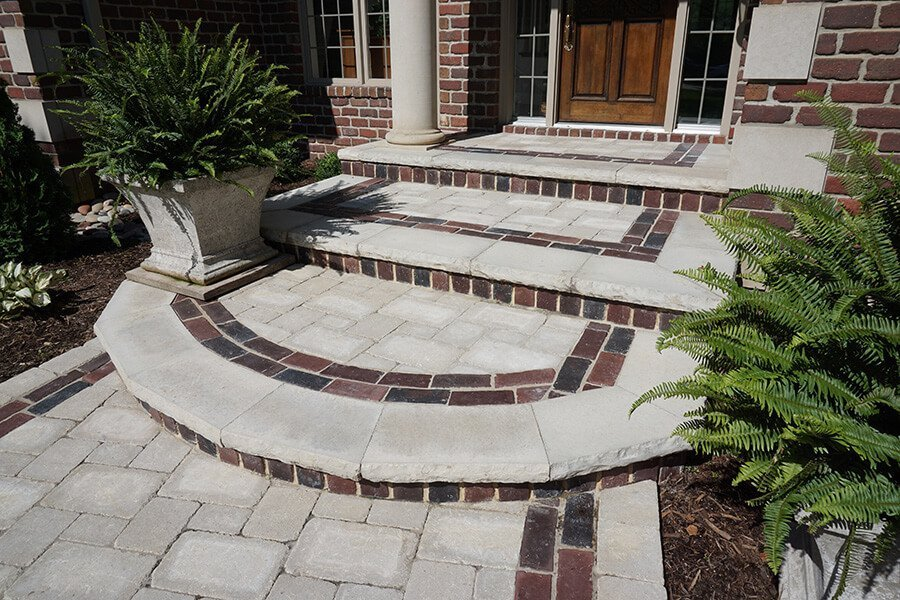 Brick Paver and Stairs Frontyard Landscaping