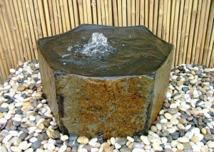 Small Stone Fountain and Pebbles