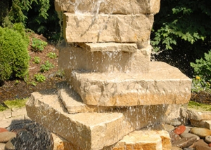 Stone Fountain Outdoor Rustic Landscaping