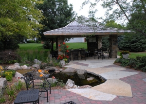 Outdoor Pond and Gazebo