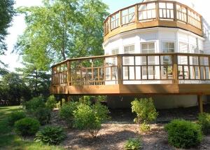 Outdoor Wooden Deck Patio and Garden