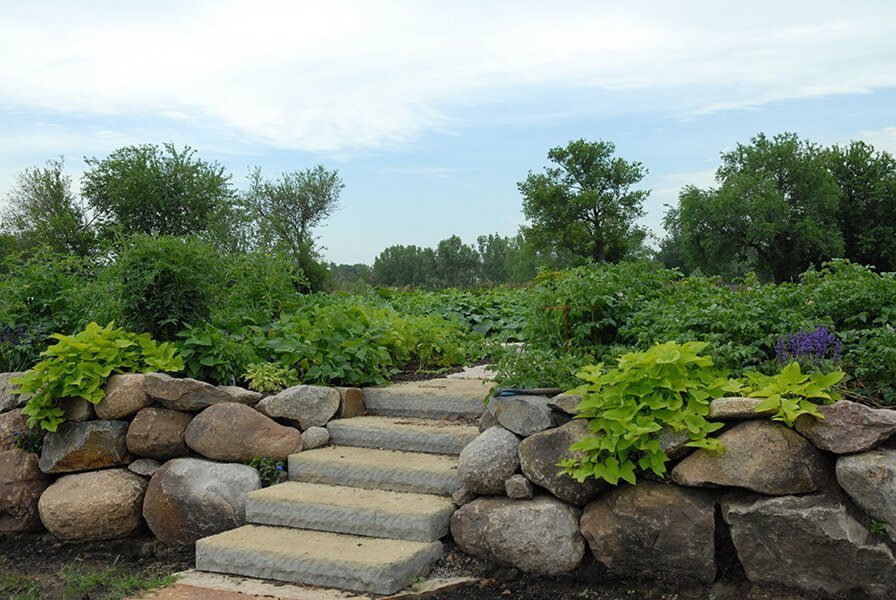 Stone Stairway And Large Boulder Retaining Wall