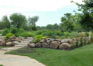Stone Stairway and Large Boulder Retaining Wall Garden