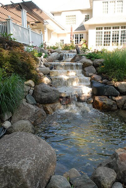 Rock Waterfall And Pond Backyard Water Feature