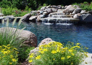 Waterfall feature Stone Slabs and Boulder