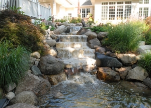 Modern Boulder Waterfall Backyard Living