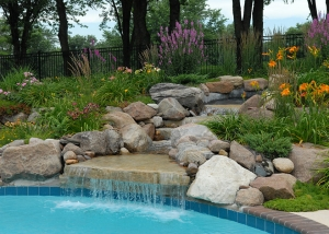 Waterfall Pool and Outdoor Plants and Flowers
