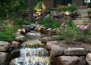 Outdoor Waterfall Rustic Boulder Landscaping