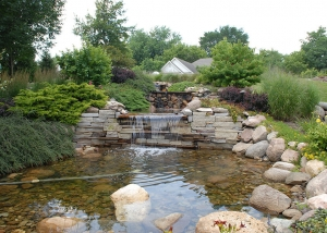 Outdoor Stone Slab and Boulder Waterfall Feature