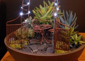 Mini Gazebo Fairy Garden Design with Lighting