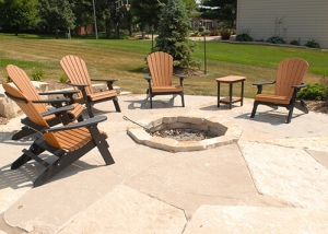 Outdoor Large Slab Stone Patio with Firepit