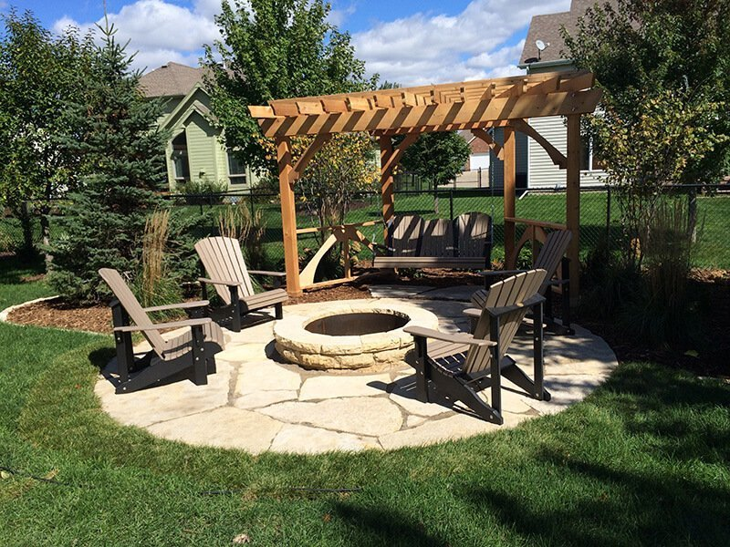 Outdoor Stone Firepit and Small Stone Slab Patio