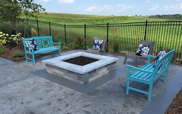Modern Outdoor Patio with Stone Firepit