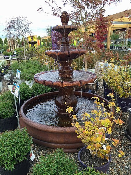 Multi Tier Outdoor Water Fountain in Landscaping