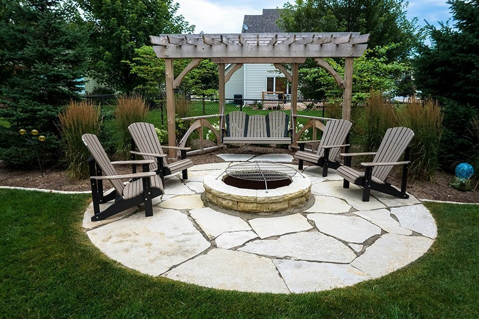 tedsgardens stone firepit cedar pergola johnston iowa