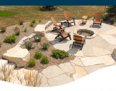 Man made stone natural stone rock design backyard landscape designer Iowa Des Moines style exterior patio