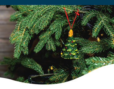 closeup of porcelain christmas tree ornament