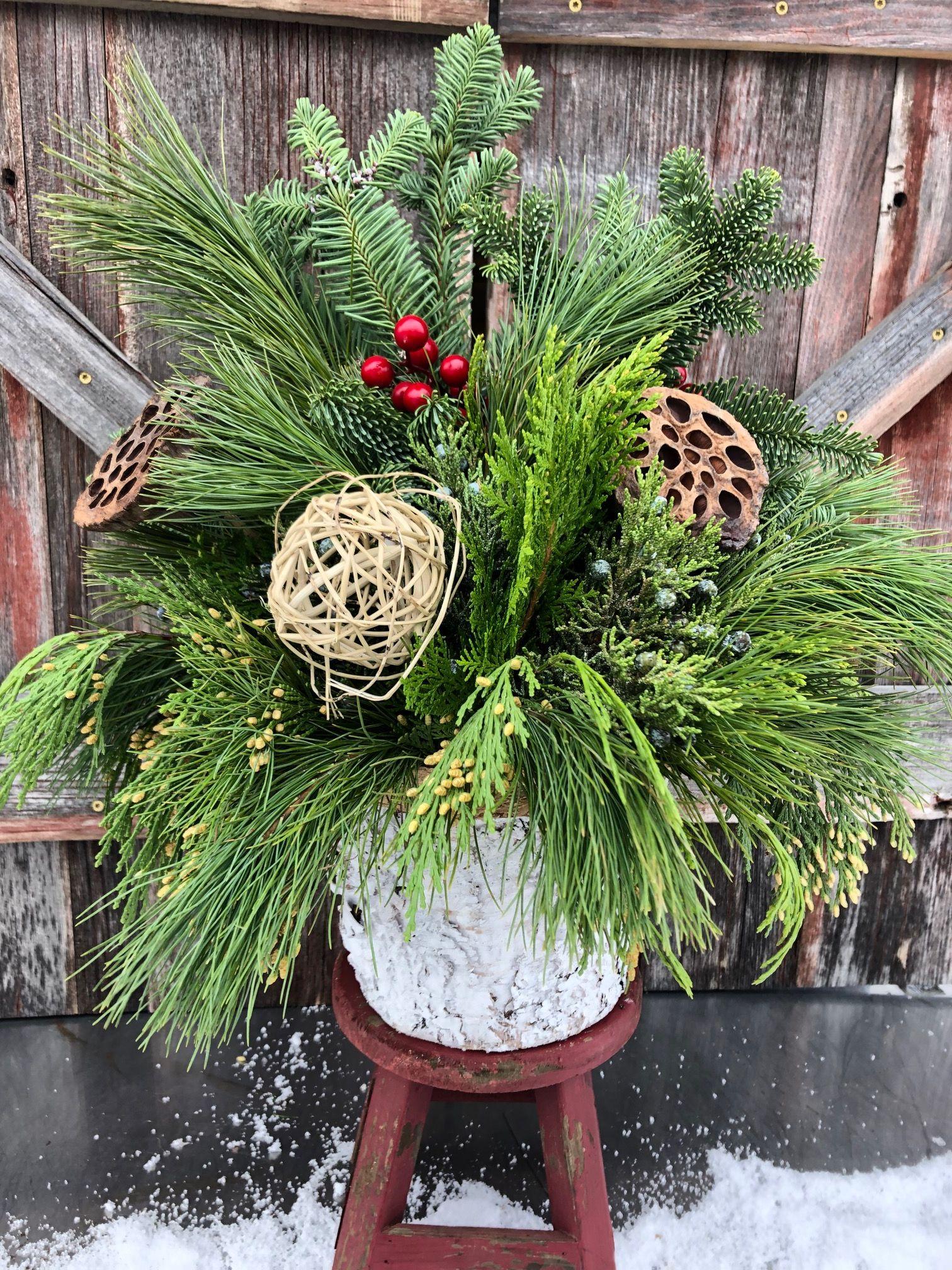 birch evergreen centerpiece holiday